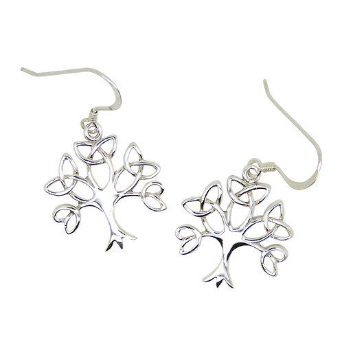 Silver Trinity Tree Earrings