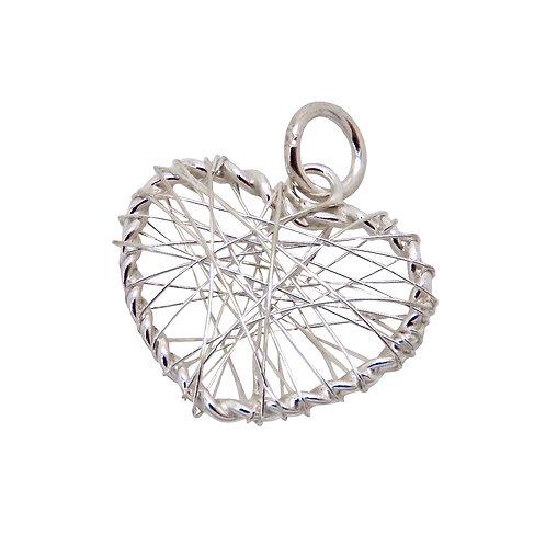 Silver Wire Heart Pendant