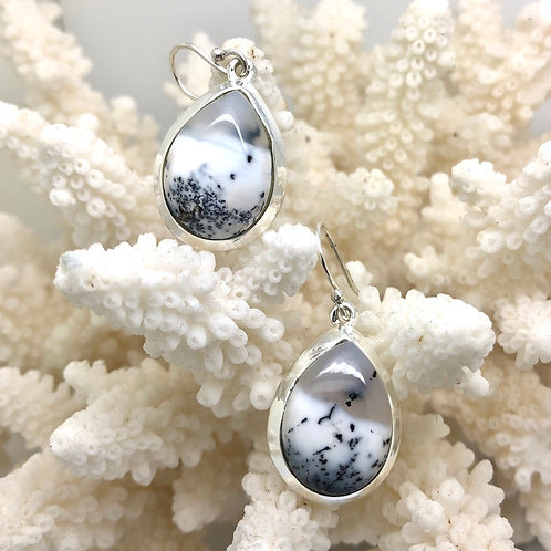 Dendritic Agate Teardrop Earrings