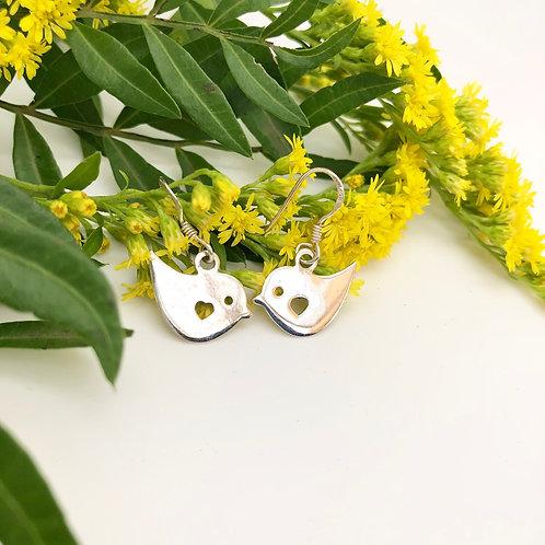 Tweet  Silver Bird Earrings
