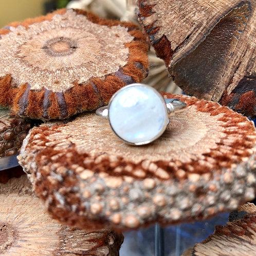 Moonstone Small Circular Silver Ring