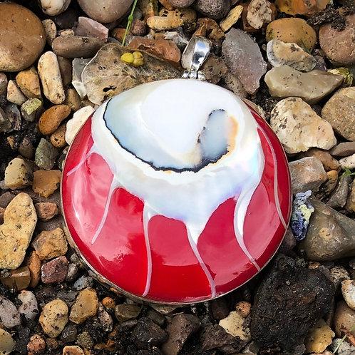 Nautilus Shell Red Circular Pendant