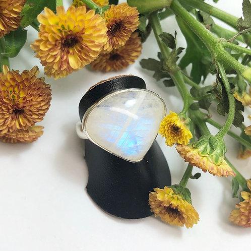 Moonstone Triangular Adjustable Silver Ring