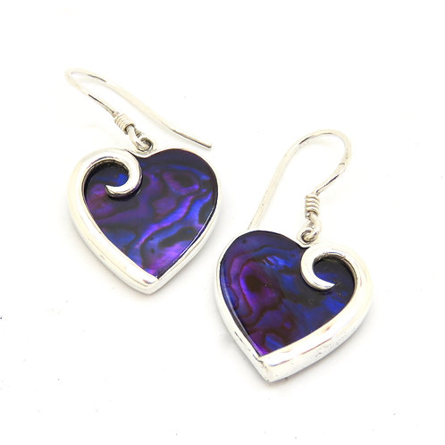 Abalone Purple Heart Earrings
