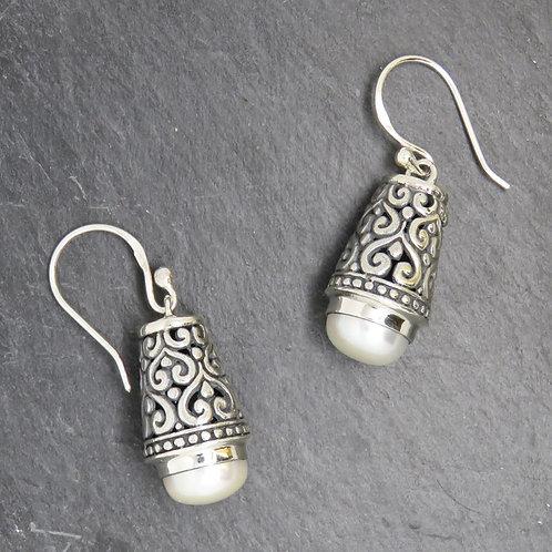Pearl & Silver Filigree Earrings