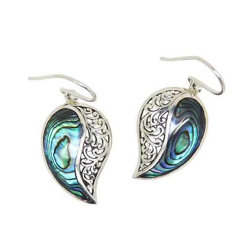 Abalone & Filigree Comma Earrings