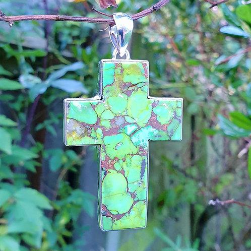Mohave Green Cross Pendant