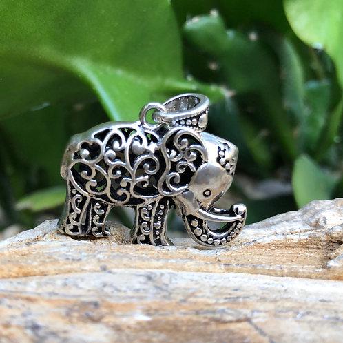 Silver Elephant Large Pendant