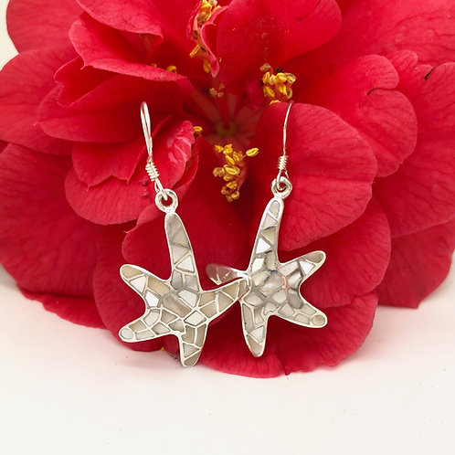 Mother of Pearl Mosaic Starfish Earrings