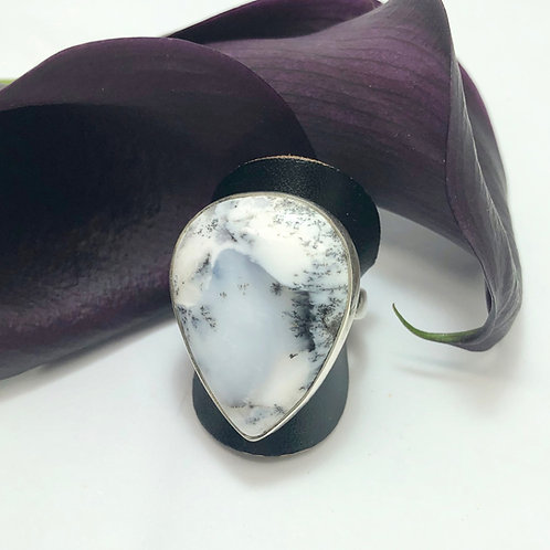 Dendritic Agate Triangular Adjustable Silver Ring