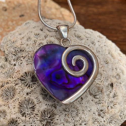 Abalone Purple Heart Pendant