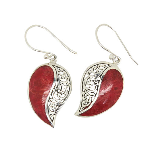 Red Coral & Filigree Earrings