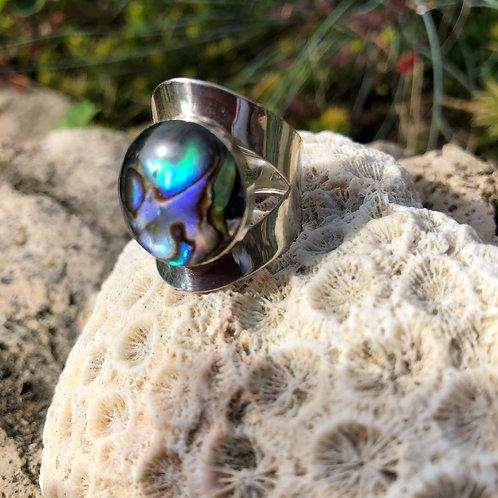 Abalone Circular Adjustable Ring