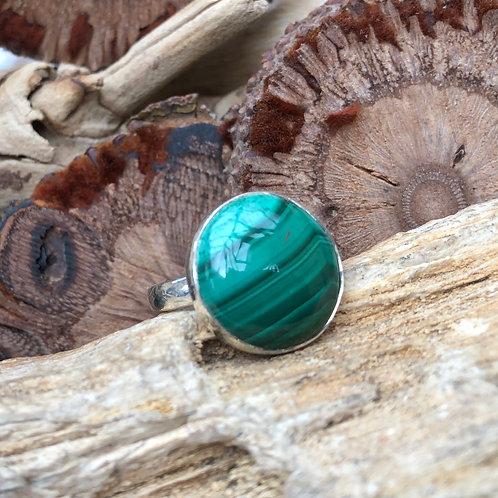 Malachite Circular Adjustable Silver Ring