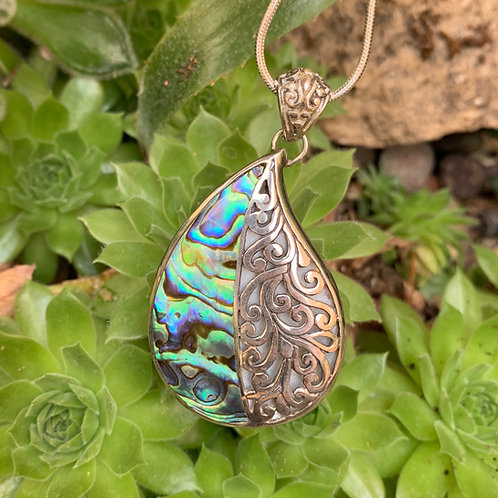 Abalone Comma Pendant with Mother of Pearl Reverse
