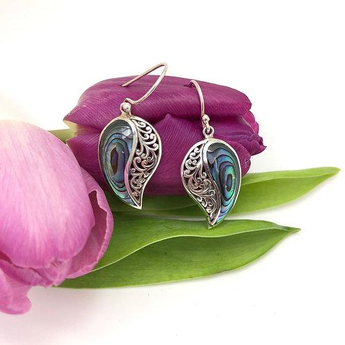 Abalone & Silver Filigree Comma Earrings