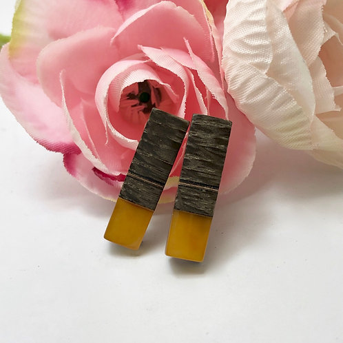 Amber & Fossilised Oak Stick Earrings