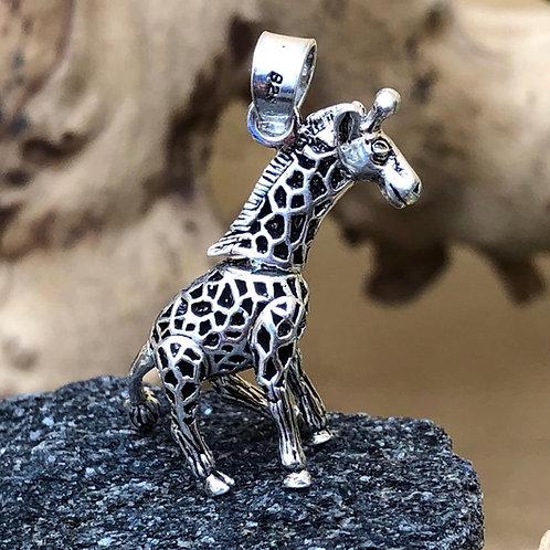 Silver Giraffe Moving Pendant