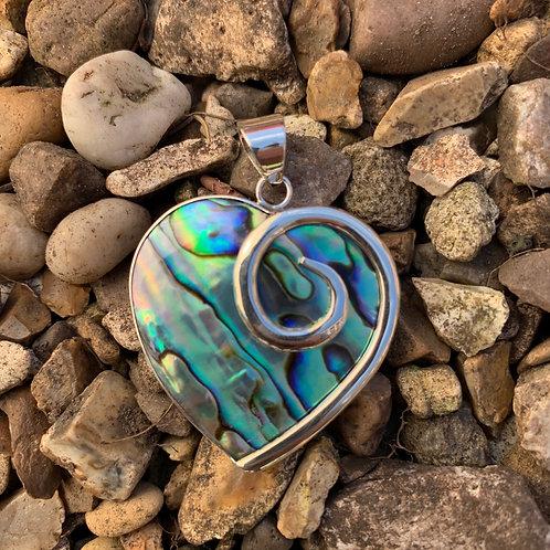 Abalone Heart Swirl Pendant