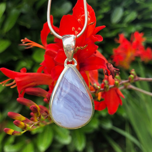 Blue Lace Agate Small Triangular Pendant