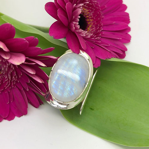 Moonstone Large Oval Adjustable Silver Ring