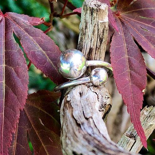 2 Ball Silver Ring