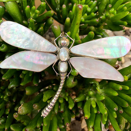 Mother of Pearl Large Dragonfly Brooch/Pendant