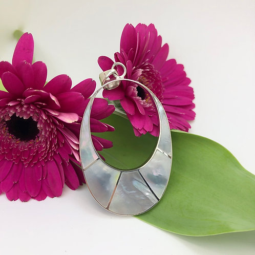 Mother of Pearl Hollow Reversible Pendant