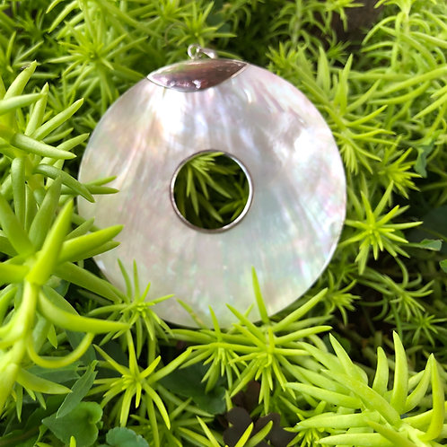 Mother of Pearl Large Circle Pendant with Cut Out