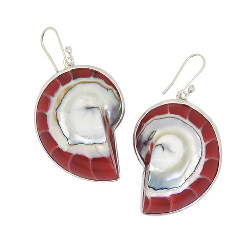 Nautilus Shell Red Earrings