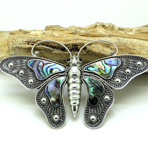 Abalone & Silver Filigree Moth Pendant