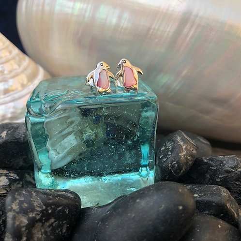 Mother of Pearl Pink Penguin Studs