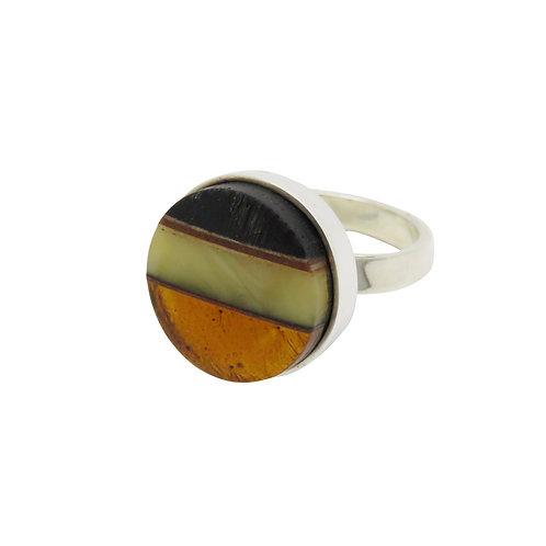 Fossilized Black Oak & Amber Ring