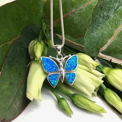 Blue Opalite Butterfly Pendant