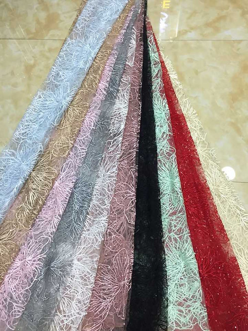 African Fabric High Quality Net Embroidery Lace with Beads - Sandra Collection