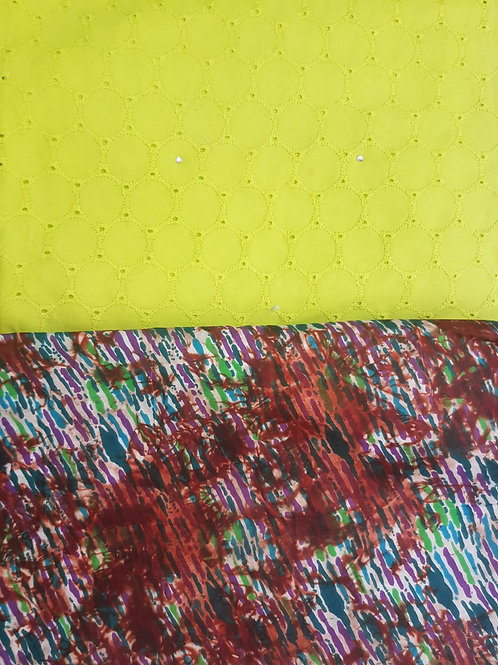 Lemon Dry-Lace with Multicoloured Adire African Print Fabric Pack