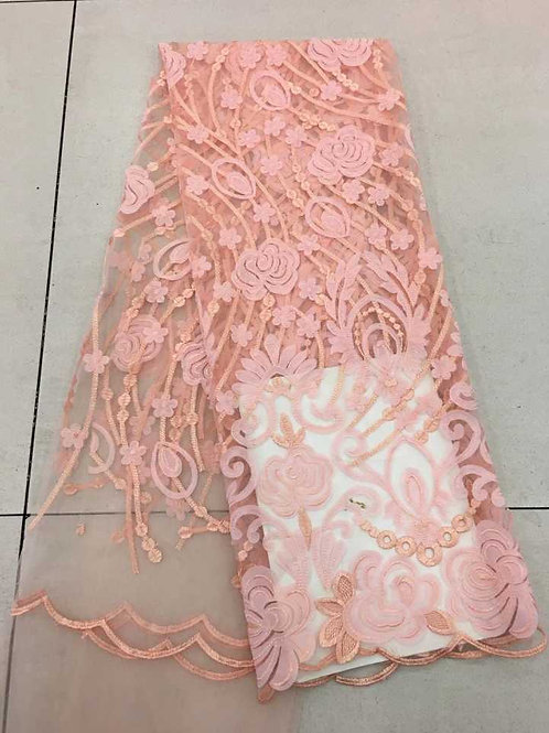 Lucy - Tulle Net French Embroidery lace High End Bridal Wedding Dress Fabric