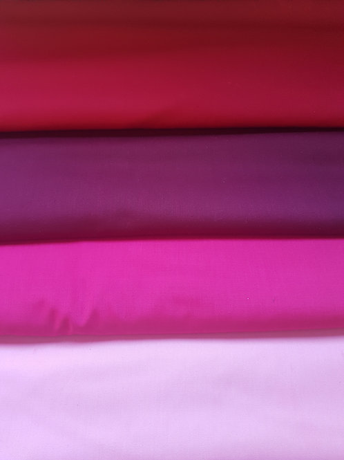 Italian Cotton Fabric - Mat Collection - Pink / Wine / Red Colours