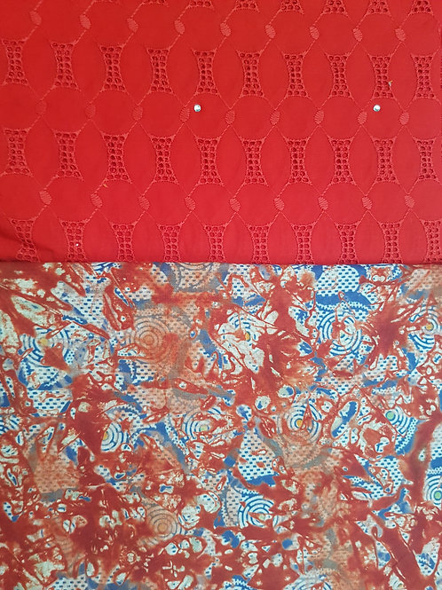 Bright Red Dry-Lace with Multicoloured Adire African Print Fabric Pack
