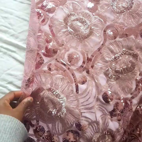 Net Tulle Sequin Lace Fabric - Pink