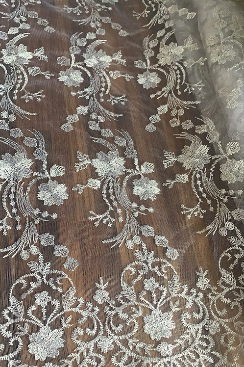 Net Tulle Lace Floral Embroidery Fabric