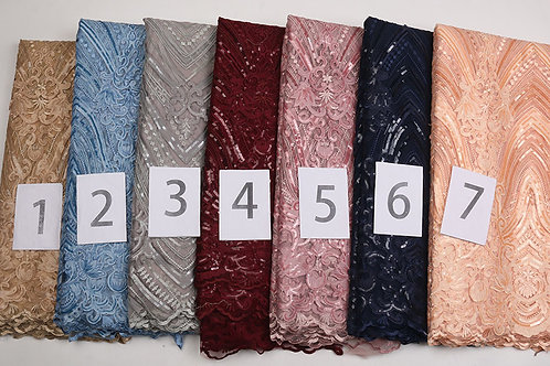 Tulle Sequin Net Cloth French lace High End African Dress Wedding Fabric