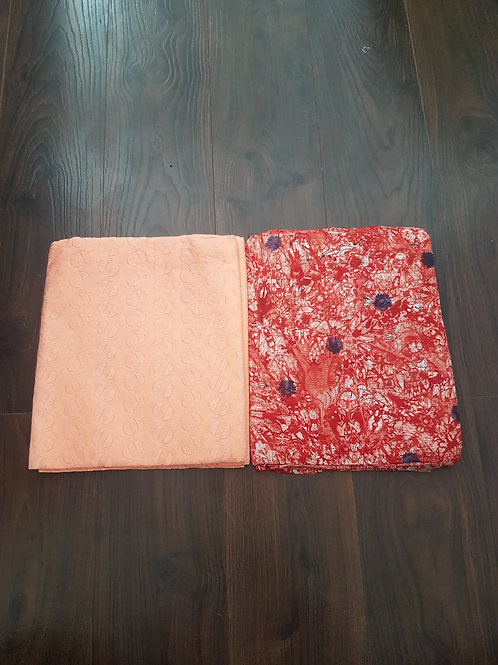 Cool Orange Dry-Lace with Multicoloured Adire African Print Fabric Pack