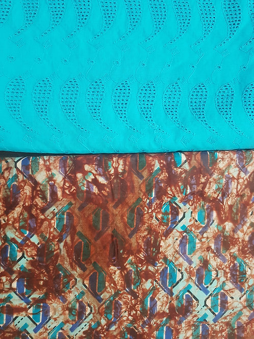 Turquoise Blue Dry-Lace with Multicoloured Adire African Print Fabric Pack