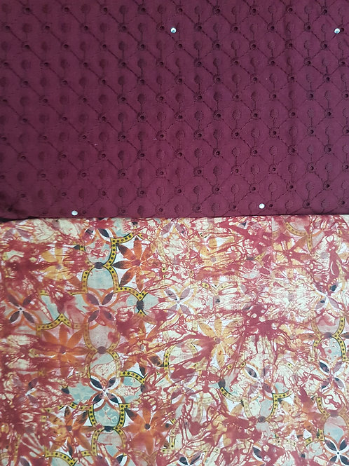 Burgundy Dry-Lace with Multicoloured Adire African Print Fabric Pack