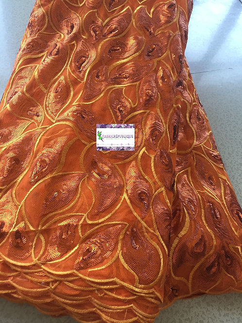 Net Tulle Sequin Lace Fabric with Embroidery - Burnt Orange