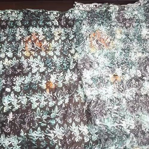 Print Net Tulle Lace Fabric - Green / Orange Mix