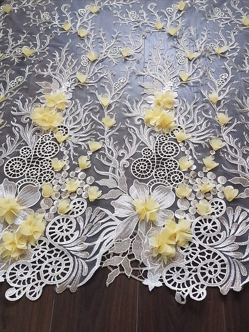 3D Bridal/Wedding Beige Embroidery Yellow Flower Net Lace Fabric