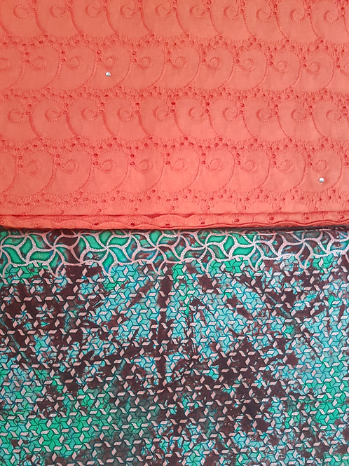 Orange Dry-Lace with Multicoloured Adire African Print Fabric Pack