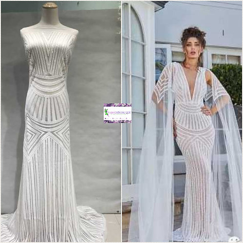 Tulle Net French Sequin Lace High End Bridal Wedding Dress Fabric - Iyawo